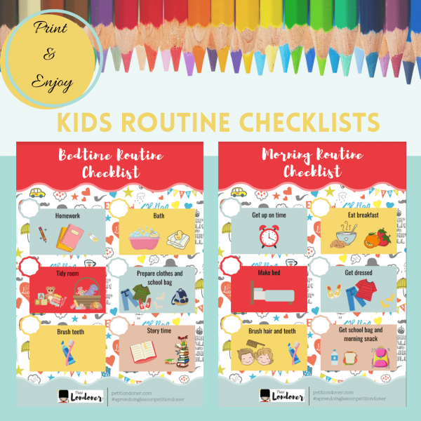 Colorful Kids Morning and Bedtime Checklist